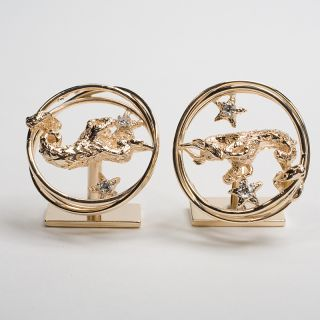 Estate Capricorn Zodiac Sign Diamond Gold Mens Cufflinks Jewelry