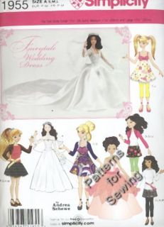 Pattern Simplicity Sewing Fashion Doll Clothes 10 ½ 12 ½ Barbie New