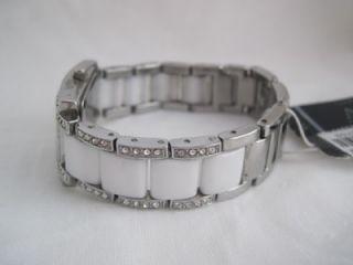 Anne Klein 10 9195 Women Swarovski Crystal White Ceramic Mother of