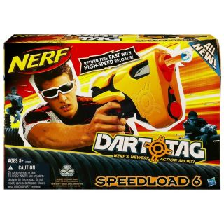 NERF DART TAG SUPER FAST SPEED LOAD 6 BLASTER GUN 6 DARTS FATHERS DAY