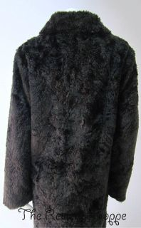April Cornell Black Faux Fur Long Coat Snap Closure Medium