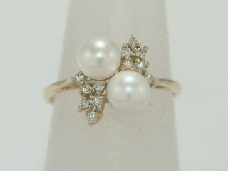 14k Yellow Gold Cultured Pearl Diamond Ring