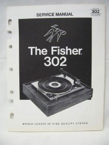 Fisher 302 Turntable Service Manual Original