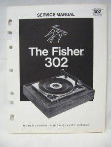 Fisher 302 Turntable Service Manual Original
