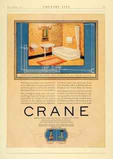1923 Ad Crane Pipe Valve Fitting Home Builder Bathroom   ORIGINAL
