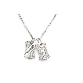 Crislu Silver Cubic Zirconia Dog Tag Pendant Necklace