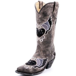 Corral Ladies Grey  Black Heart Wings Sequins Cowgirl Boots R1015