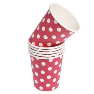 24 New Red White Polka Dot Spotty Birthday Party Paper Cups