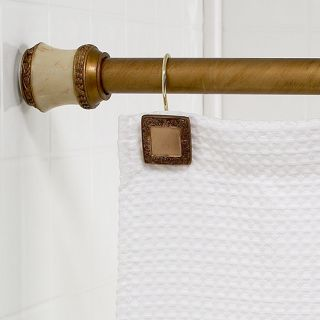 Lakewood Shower Curtain Tension Rod with Decorative Finials Gold