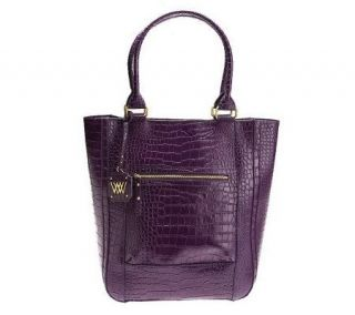 Wendy Williams Croco Embossed Leather Tote with Zipper Pockets