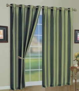 Mira Green Faux Silk Grommet Curtain Panels 108 inches Long