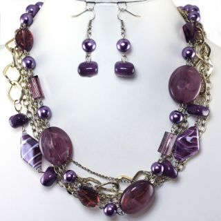 Purple Pearl Bead Gold Layered Earrings Necklace Set Costume Fashion