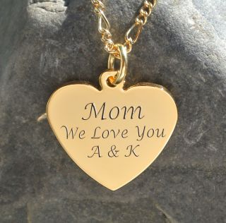 Personalized Gold Love Heart Pendant with Necklace Custom Engraved