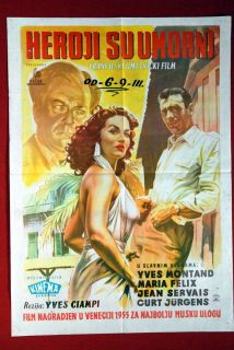 Yves Montand Maria Felix 1955 Curd Jurgens Uniq Yu Movie Poster