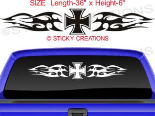 123 Iron Cross Rear Window Chopper Decal Sticker Vinyl