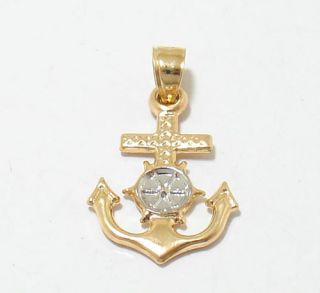 3D Anchor Cross Charm Pendant 14k Yellow White Gold