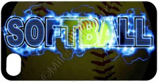 iPhone 4 4S Cover Custom Soft Sided Case Blue Lightning Softball