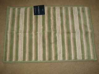 New Croft Barrow Cotton Bathroom Rug Green Tan White Stripes soft 20 X