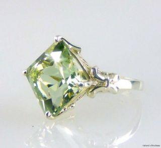 Green Amethyst Princess Cut Ring 925 SS Sterling Silver