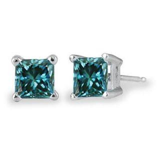 Ct TW Princess Cut Blue Diamond Solitaire Earrings in 14 KT White
