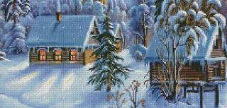 time crafts peaceful winter village counted cross stitch pattern