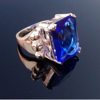 Ring Gift Silver Gemstone Ring Silver Cut Sapphire Ring Size 7