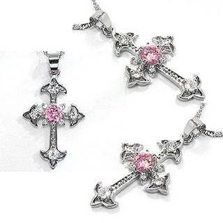 Fashion Jewelry Gift Cross Cut Pink Sapphire White Gold GP Pendant
