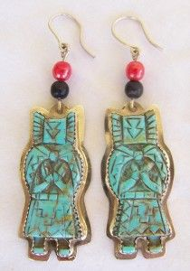 Hand Carved Turquoise Sterling Crow Kachina Earrings by Artist