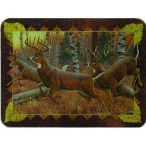 Tempered Glass Cutting Board Hunting Deer in Forest