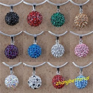 12 Style Crystal Pave Disco Ball Beads Friendship Necklace Pendants
