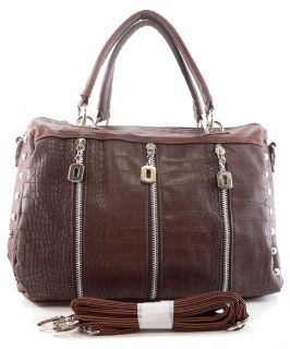 New Designer Inspired Croc Leather Handbag Purse Brown