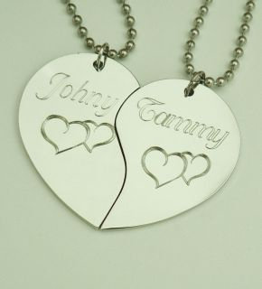 Split Heart Pendant Necklace Personalized Hearts Custom Engraved
