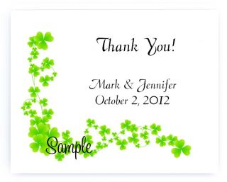 Custom Irish Green Shamrock Clover Wedding Thank You Cards