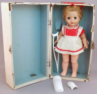 1960s Doll & FIRST AID Trunk: CAST for Broken Leg, Broken Arm