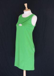 Cynthia Steffe Green Stretch Knit V Neck Sleeveless Shift Dress Size L