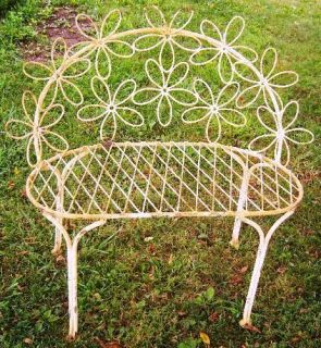 Wrought Iron Adult Daisy Bench Country Flowers Metal