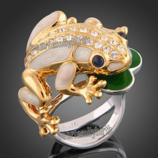 Cute Frog 18K YG GP Swarovski Crystal Cocktail Ring 386