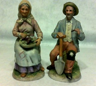 VINTAGE COUNTRY FOLK OLD MAN OLD LADY FIGURINES HOME INT TAIWAN LARGE