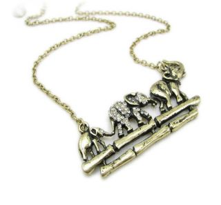 Rhinestone Elephants Cross Single plank Bridge Pendant Necklaces