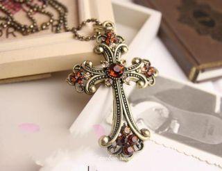 Bronze Crystal Cross Pendant Long Chain Necklace Korean Style Pendant