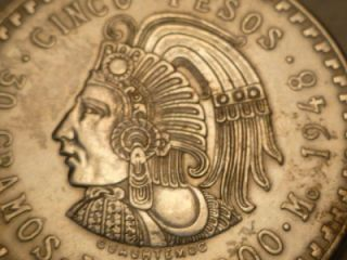Mexico 1948 Silver Cuauhtemoc 5 Peso Coin Uncirculated
