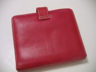 Franklin Covey Red Full Grain Leather Red 6 Ring Organizer Planner ID