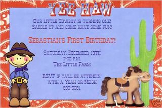Western Wanted Cowboy Birthday Party Invitations