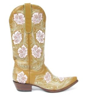 Leather Embroidered Floral Design Pointed Toe Cowboy Boots 9