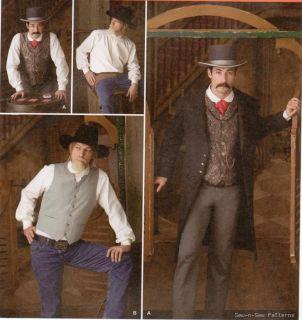 Western Cowboy Costume Shirt Vest Pattern Gambler Coat