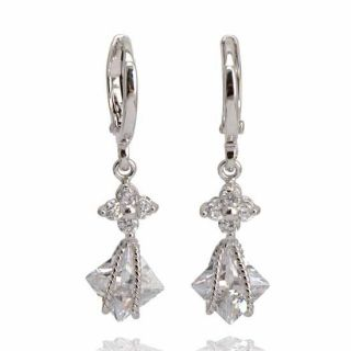 Stunning 9K White Gold Filled Cubic Zirconia Dangle Earrings E232