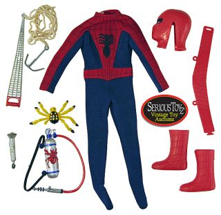 1967 Ideal Vintage Captain Action Spiderman Costume Complete Nice