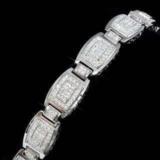 Mens 14k White Gold Fin vs Lab Diamond XL Big Bracelet Fashion Hip Hop