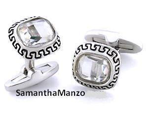 Mens Greek Key Swarovski Crystal Jewelry Cufflinks New