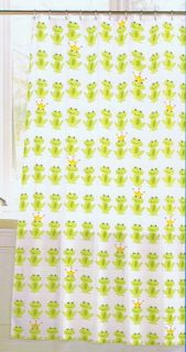 Crystal Bay Frog Prince Green Gold Crown White VINYL SHOWER CURTAIN